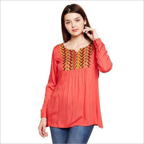 Ladies Peach Cotton Top