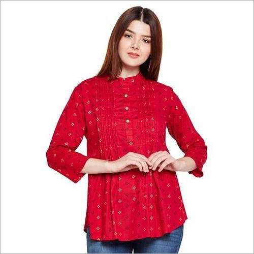 Ladies Red Cotton Top