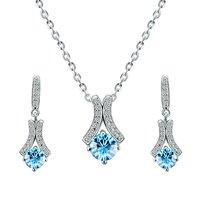 Crystals from Swarovski Vivacious Blue Crystal Pendant Set