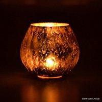 Silver Bowl Shape Candle Votive, Mosaic Glass Bowl Votive Tealight Candle Holder