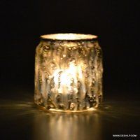 Decorated Candle Votive, Silver Candle Votive, Mosaic Glass Bowl Votive Tealight Candle Holder