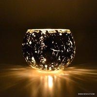 Silver Candle Votive, Mosaic Glass Bowl Votive Tealight Candle Holder