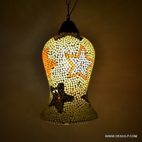 MOSAIC GLASS HANGING LAMP WITH FITTING ANTIQUE SHAPE
