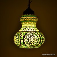 Yellow And Green Color Mosaic Glass Hanging Lamp