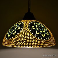 YELLOW MOSAIC GLASS WALL DECORATED HANGING