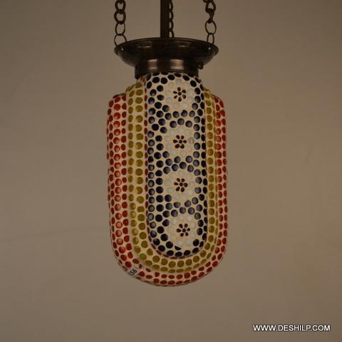 DECORATED GLASS MOSAIC GLASS HANGING PEDANTS LAMP
