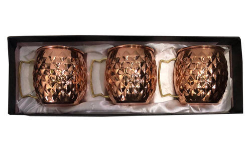 Copper Gift Set Diamond Moscow Mule Mug Pack Of 3