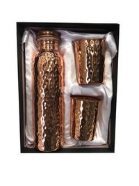 CopperKing Copper Gift Set Hammered Bottle With 2 Glass.