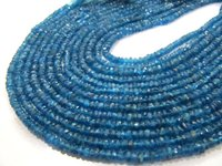 Natural Neon Apatite Rondelle Faceted Size 4mm Beads