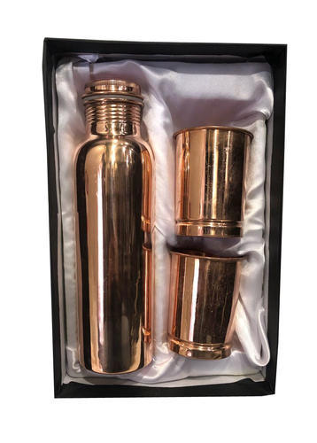 CopperKing Gift Set Plain Bottle With 2 Glass