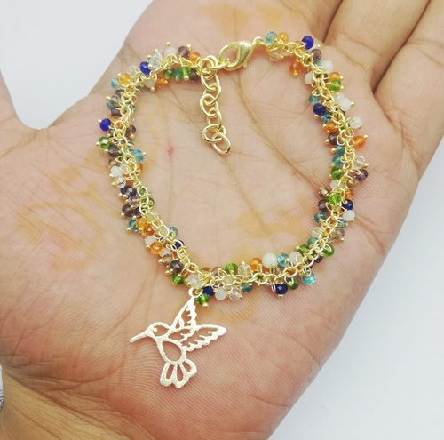 Gold Plated Multi Color Gemstone Cluster Chain Bracelet with Bird Charm