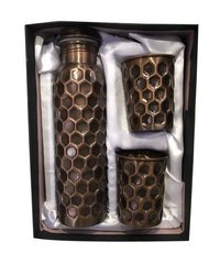 CopperKing Gift Set Diamond Antique Blacky Bottle With 2 Glass