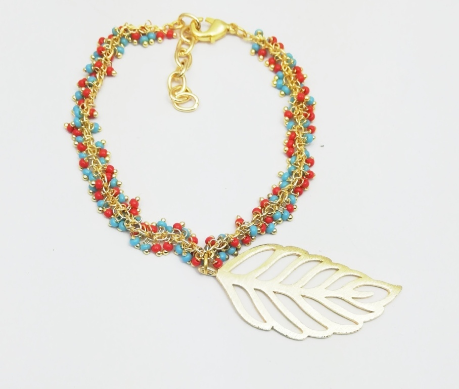 Turquoise and Red Color Smooth Round Bead Cluster Chain Bracelet with Gold Plated Charm