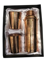 CopperKing Copper Gift Set Embossed Fanta Bottle With 4 Glass