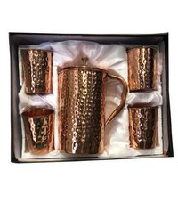 CopperKing Pure Copper Gift Set Hammered Jug With 4 Glass