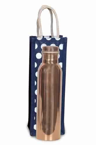 Copper Water Bottle & Jute Bag Set
