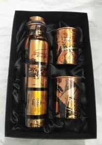 Pure Copper Printed Design Bottle & Glass Gift Set