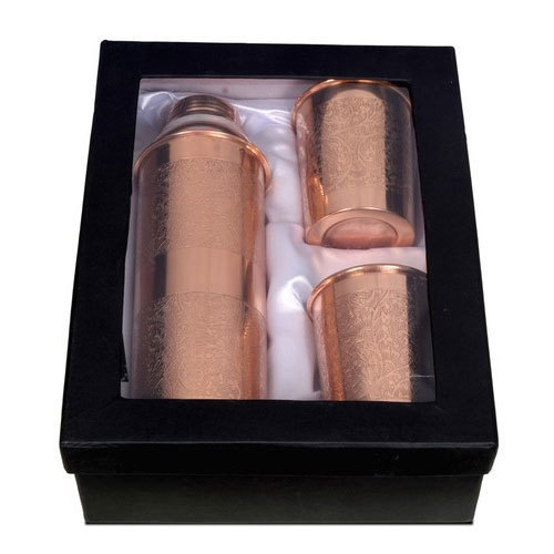Embossed Copper Bottle  with Glass Set
