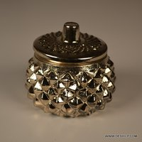 SILVER GLASS DECORATED JAR WITH GLASS LID