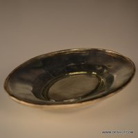 Silver Color Antique Glass Plate Round Shape