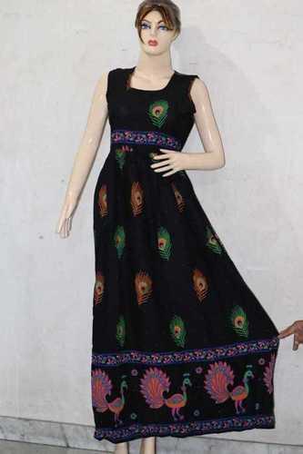Peacock Printed Rayon Long Maxi Dress
