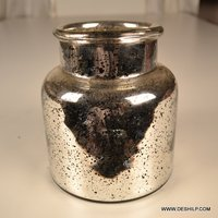 SILVER GLASS FLOWER POT, GLASS CUT DESIGN DECORATIVE FLOWER VASE