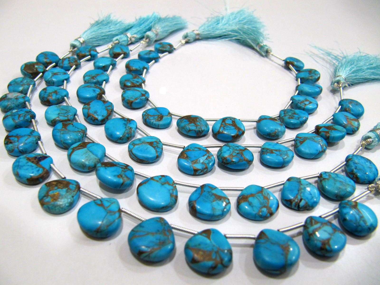 Sky Blue Oyster Turquoise Pear Shape Smooth  beads