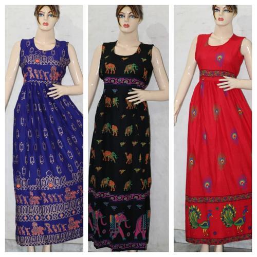 Traditional Rayon Printed Long Dress