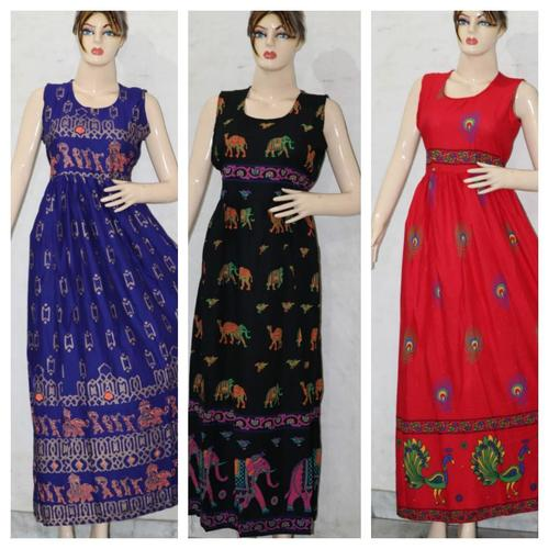 Traditional Rayon Printed Long Dress