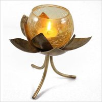 Gold Metal Lotus Tea Light Holder