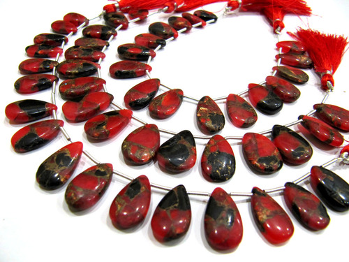 Red Oyster Copper Turquoise Pear Shape Plain Smooth Beads