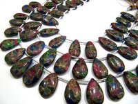 Multi Oyster Copper Turquoise Pear Shape Plain  Beads