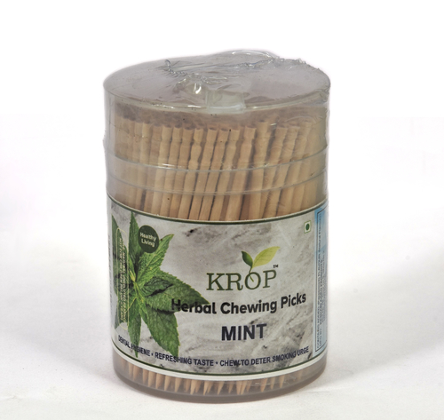 KROP Herbal Chewing Picks - 300 Sticks (Mint Flavored Toothpicks)