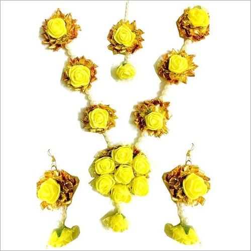 Yellow Flower Gota Patti Jewelry Set