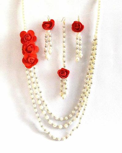 Red Rose Multi strand Flower Jewelry Set