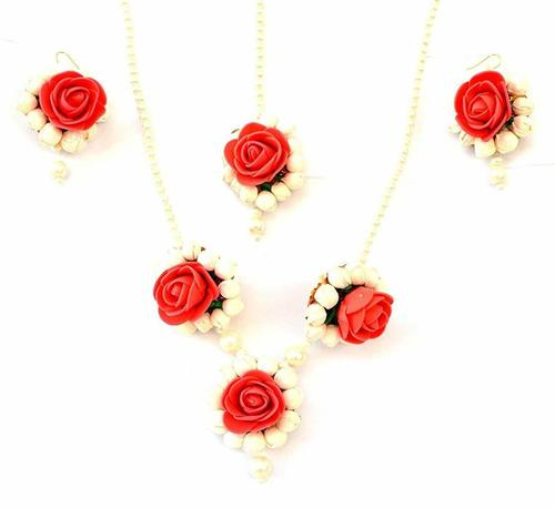 Red Rose Mogra Flower Jewelry Necklace