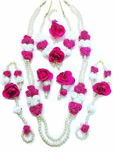 White Pink Flower Jewelry Set With 2 Necklaces Earrings Maang Tika