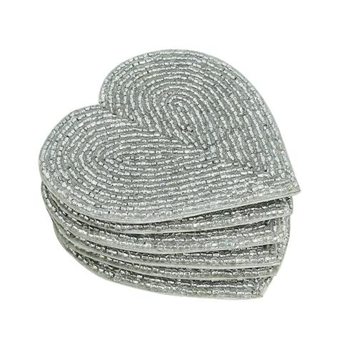 Handmade Beaded Heart Coaster Set