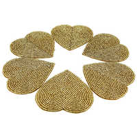 Handmade Heart Shape Golden Beaded Coasters Set
