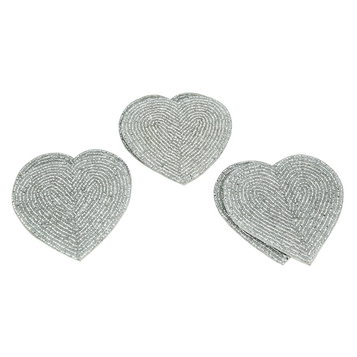 Heart Shape Beaded Coaster Set