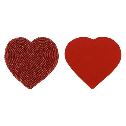 Heart Red Beaded Tea Coasters