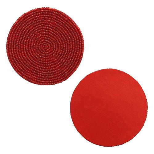 Red Beaded Tea Coasters
