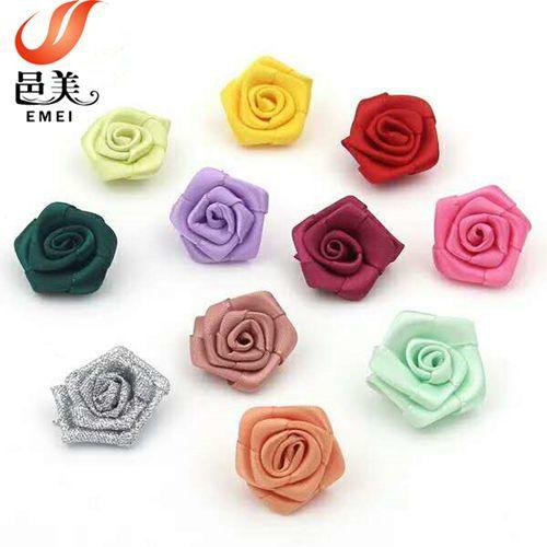 wholesale handmade mini satin ribbon rose flowers