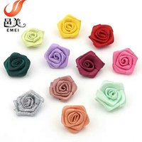 wholesale handmade mini satin ribbon rose flowers