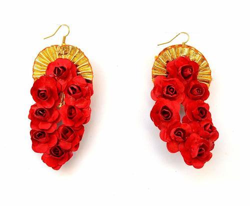 Red Flower Gota Patti Earrings For Women & Girls