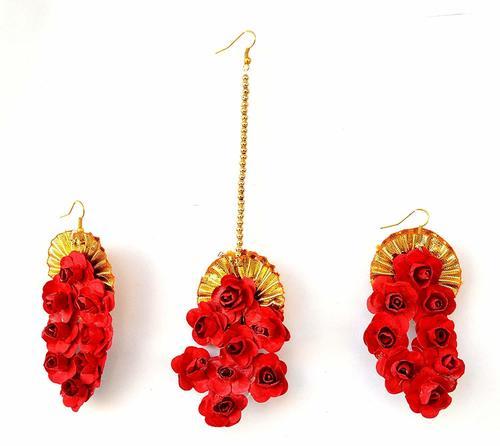 Red Flower Gota Patti Earrings And Maang Tika For Women & Girls