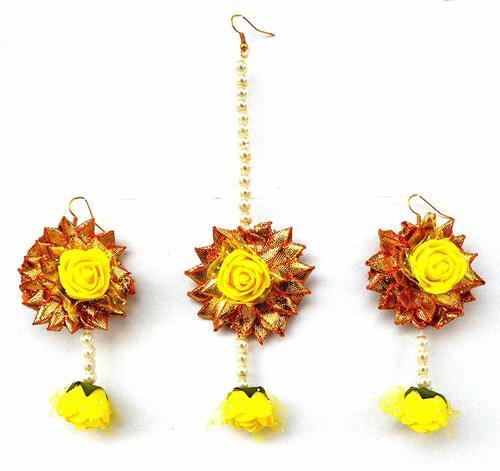 Yellow Flower Gota Patti Earrings And Mang Tika For Women & Girls