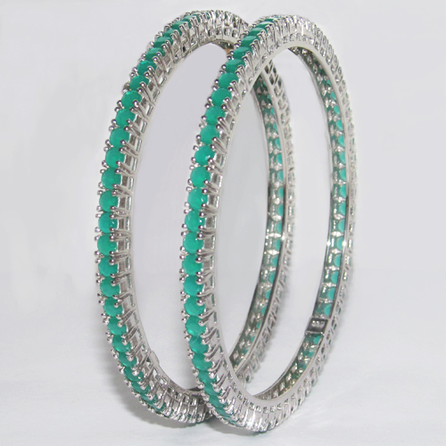 Silver Coloured stone Bangles