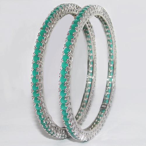 Silver Coloured stone Bangles