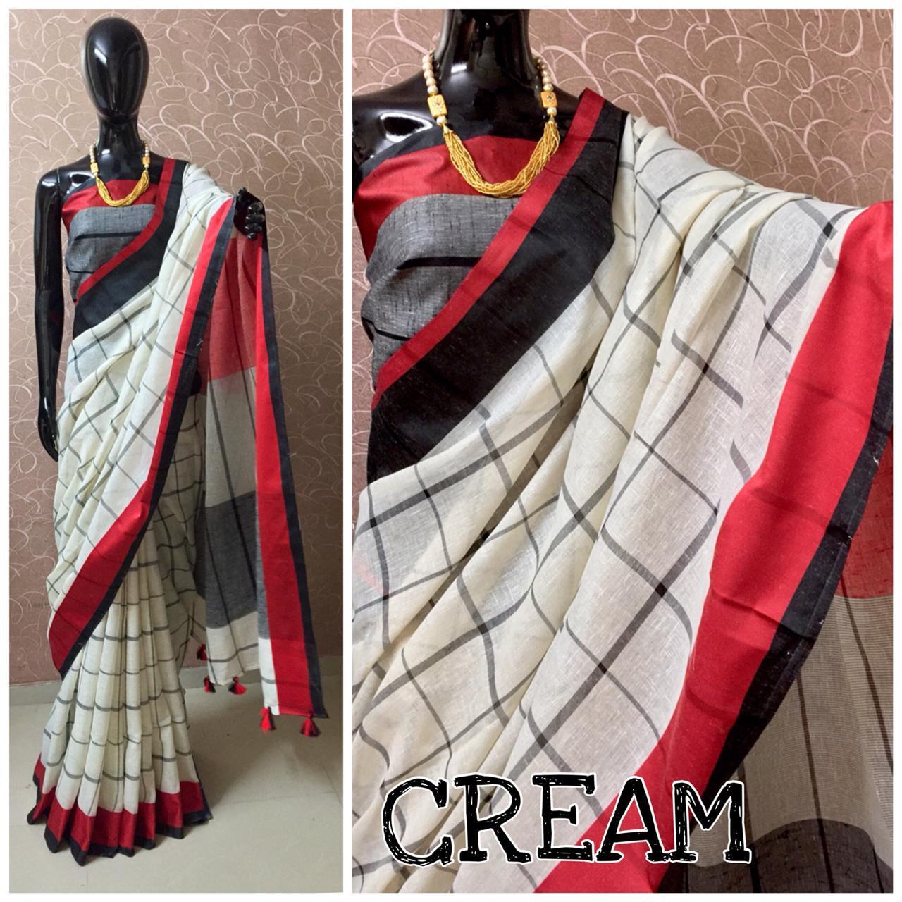 Pure Linen Ladies Saree